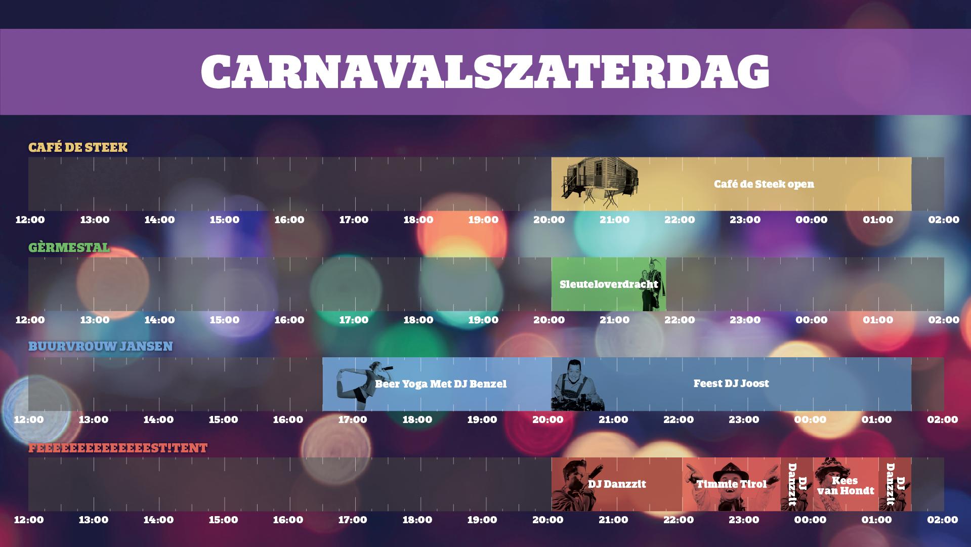 carnaval mill timetable programma overzicht zaterdag