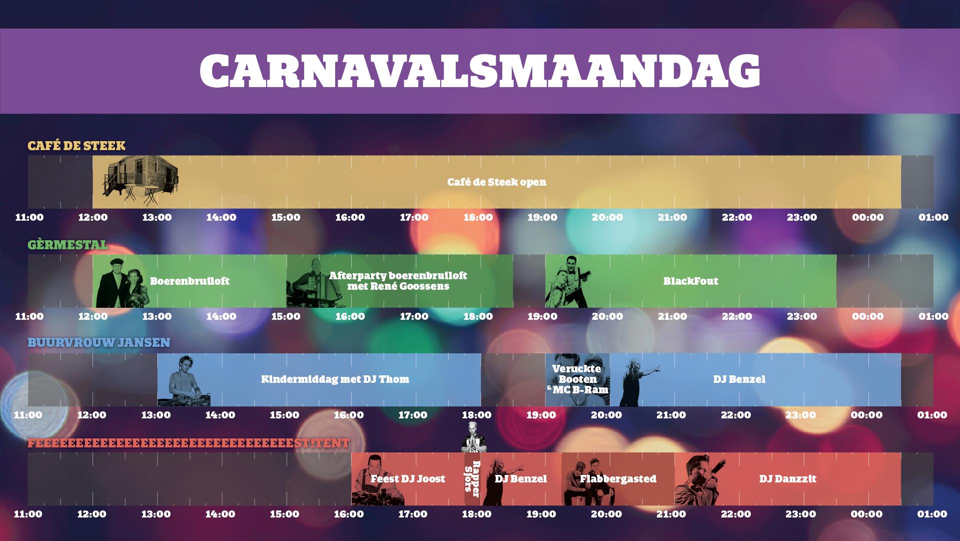 carnaval mill timetable programma overzicht maandag